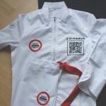 Schort en koksbuis met IQ code