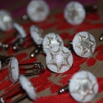 Christmas cufflinks - white with silver