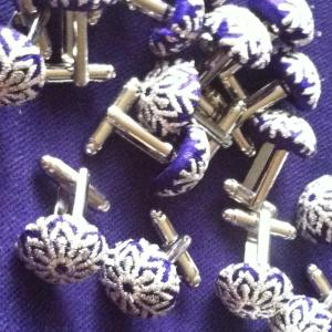 Christmas cufflinks - purple with silver