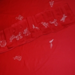 Cotton damask - embroidered with silver thread