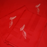 Cotton damask napkin - embroidered with silver thread